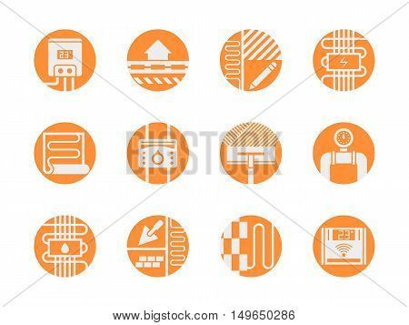 White silhouette signs of warm floor model and services. Alternative house heating - underfloor system. Modern design orange round flat vector icons set.