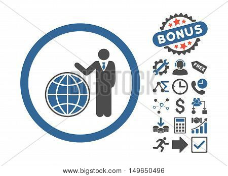 Global Manager icon with bonus clip art. Glyph illustration style is flat iconic bicolor symbols, cobalt and gray colors, white background.