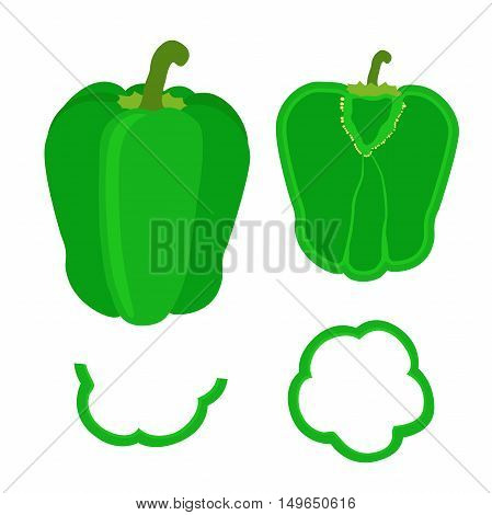 Set of whole pepper and slices in flat style. Chopped green pepper.