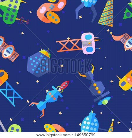 Extraterrestrial future city pattern in cartoon flat style. Bright future city, extraterrestrial city.