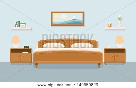Bedroom interior. Double bedroom. Family bedroom for a couple with furniture. Flat vector illustration with shadow.
