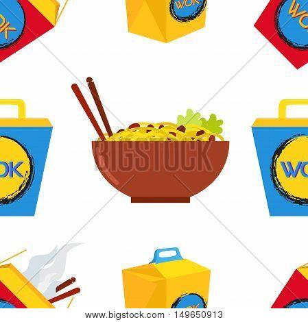 Seamless pattern of wok, asian chinese food. Ramen takeaway kitchen vector illustration.