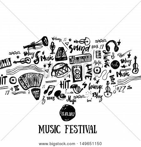 Music elements. Grunge musical background. Vector illustration. Black notes symbols for music festival backgraunds. Note value. Music staff