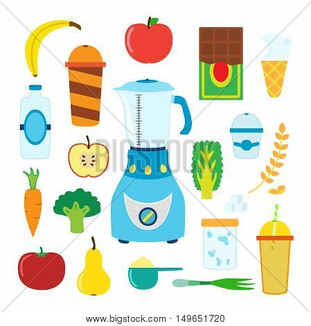 Set of cartoon food for smoothie with blender, mixer. Ingridients for berry, fruit, cereal, vegetable, protein, lactic smoothie. Vector illustration.