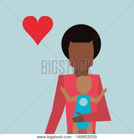 single parent with baby family image vector illustration flat design