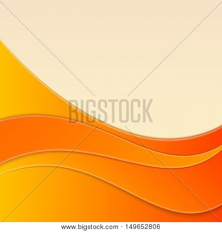Abstract smooth curve lines background advertising banner. Vector illustration on a orange background.