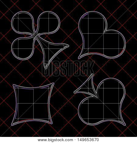 Contours of the card suits on the checkered background