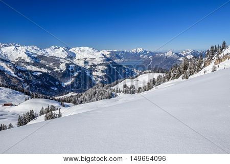 Lake Lucerne And Swiss Alps Covered By Fresh New Snow Seen From The Spirstock In Hoch-ybrig Ski Reso