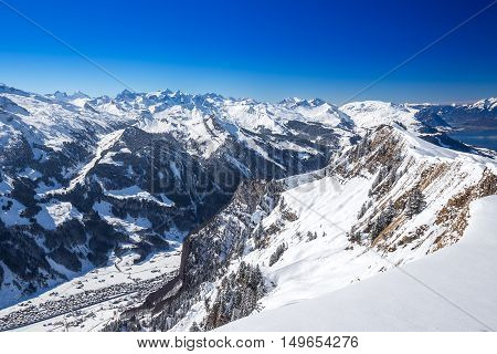 Muotathal valley and Lake Lucerne surrounded by Swiss Alps seen from Hoch Ybrig ski resort Schwyz Central Switzerland