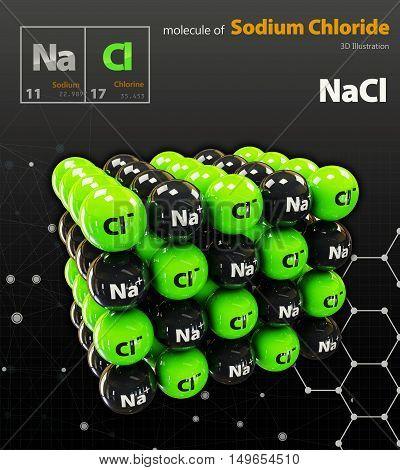 Illustration Of Sodium Chloride Molecule Isolated Black Background