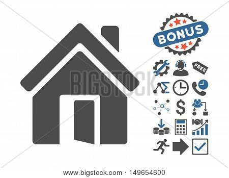 Open House Door pictograph with bonus icon set. Glyph illustration style is flat iconic bicolor symbols, cobalt and gray colors, white background.