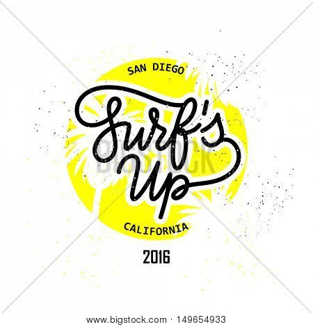 Surf's up Retro style hand lettering icon