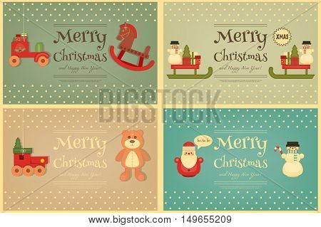 Merry Christmas and Happy New Year Cards Set in Retro Style. Vintage Toys Collection - Wooden Santa Claus Snowman Train. Xmas Posters. Vector Illustration.