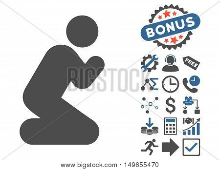 Pray Pose icon with bonus design elements. Glyph illustration style is flat iconic bicolor symbols, cobalt and gray colors, white background.