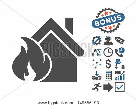 Realty Fire Disaster icon with bonus pictures. Glyph illustration style is flat iconic bicolor symbols, cobalt and gray colors, white background.