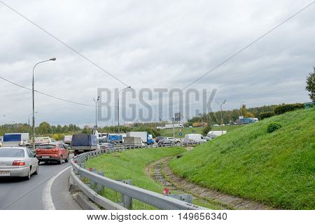 Moscow, Russia - September 27, 2016: View Traffic Of Mkad. Mkad - Moscow Ring Road Is A Ring Road En