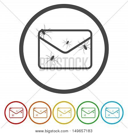 Spam icon. Spam sign. Virus icon set on white background