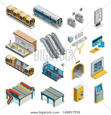 Underground isometric set with train and station symbols isolated vector illustration