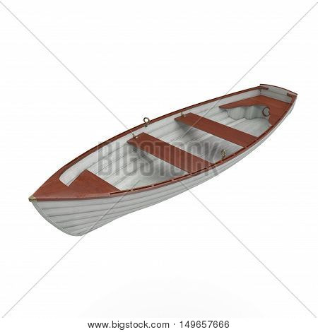 Wooden boat isolated over white background. 3D illustration