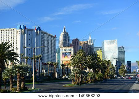 LAS VEGAS - DEC 24: Las Vegas Strip facing north, photo includes Excalibur, New York-New York, CityCenter and ARIA from the left to the right on Dec 24, 2015 in Las Vegas, Nevada, USA.
