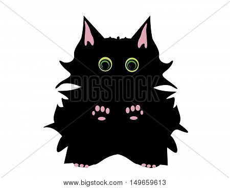 Spikey Black Halloween Cat With Green Eyes And Pink Paws