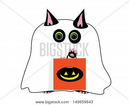 Cute Halloween Cat In Ghost Costume With Treat Bag