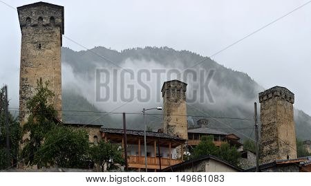 Svan towers in Mestia. hight Svaneti Georgia