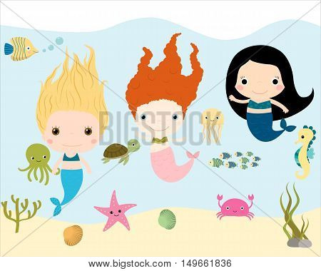 Kid mermaid characters with underwater background and sea creatures.
