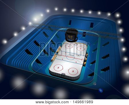 Modern ice hockey stadium arena 3D illustration