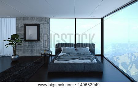 3D render of luxury bedroom with unmade bed in apartment with large windows and hills in the background