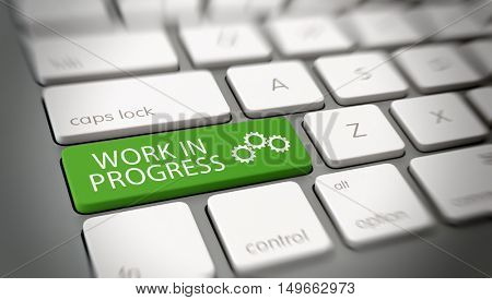 Green work in progress with gears symbol button on computer keyboard for concept about business lifestyle and processes. 3d Rendering.