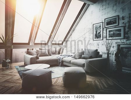 Sunny rooftop apartment interior with large vertical windows, sofa, picture frames and herringbone style hardwood floor as 3D render