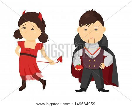Cute cartoon kid in halloween costume isolated on white background. Vector illustration for holiday design. Funny child. Character october party. Evil girl, vampire boy