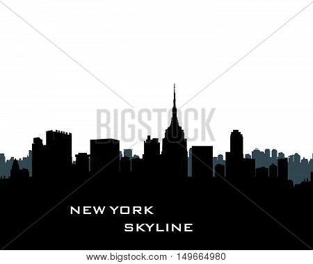 New York Skyline. Vector USA landscape. Cityscape with skyscrapers. City silhouette. Panorama city background. Skyline urban border.