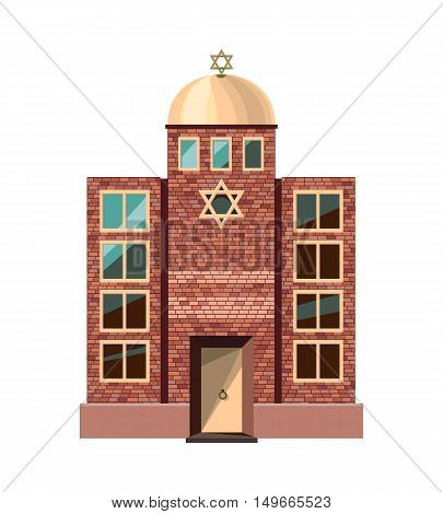 Jewish synagogue icon isolated on white background. Vector illustration for religion design. Building temple architecture. Judaism religious church. David star. Famous landmark.