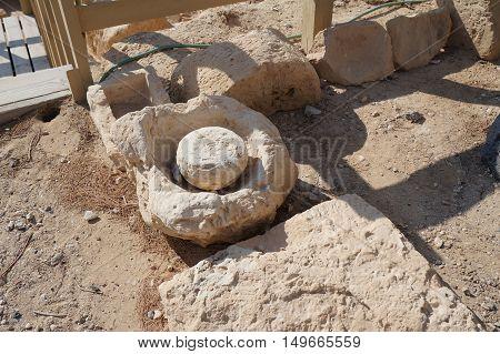 Biblical Tamar park, Arava, South Israel. Ancient olive press for making oil