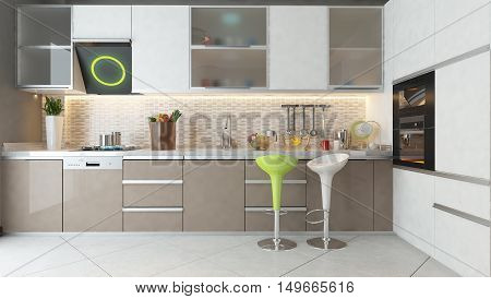 white ceramic white and cappuccino color wooden furniture under light modern kitchen 3D rendering