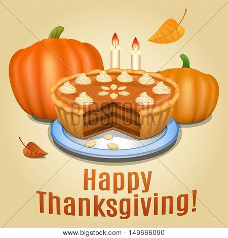 Pumpkin pie with white creme and orange pumpkin pumpkin pie for Thanksgiving. Vector illustration