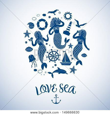 Sea icons cartoon set with lovely mermaids ship shell lighthouse and other.Including decorative title.