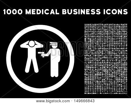 White Arrest glyph rounded icon. Image style is a flat icon symbol inside a circle black background. Bonus clipart is 1000 medical business elements.