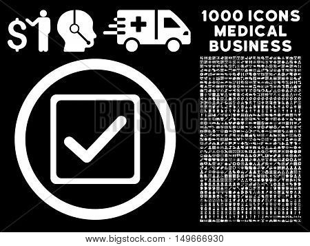 White Checkbox glyph rounded icon. Image style is a flat icon symbol inside a circle black background. Bonus clipart contains 1000 health care business elements.