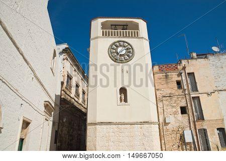 Perspective of the Clocktower of Rutigliano. Puglia. Italy.