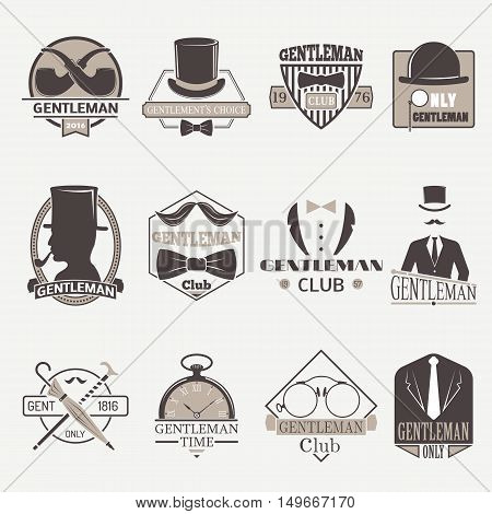Vintage hipster labels bow gentlemens hipster icons. Vector illustration gentlemens hipster icons black silhouette. Gentlemens hipster icons fashion old accessory communication hat men item.