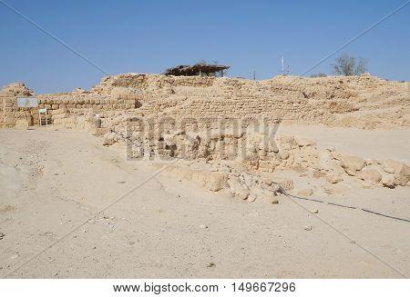 Biblical Tamar park, Arava, South Israel. Remains of Israelite period walls