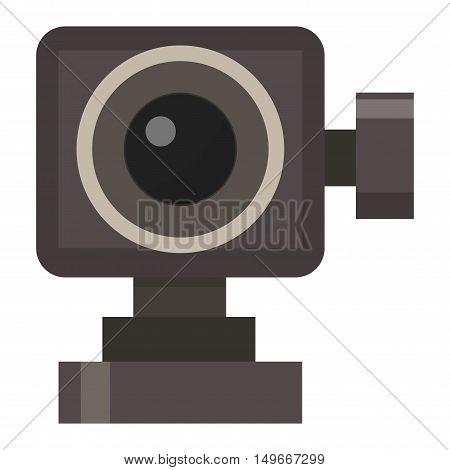 Modern photo camera and digital film photo camera on tripod. Flat photo camera shutter creative optical classic cam. Digital flat photo camera isolated technology vector.