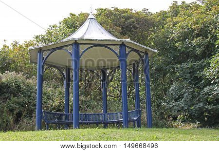 A Circular Shelter at a High Woodland View Point.
