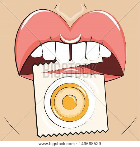 Contraception Vector illustration Girl holds in her mouth the opened package with the condom Cartoon style