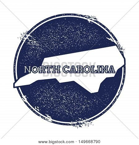 North Carolina Vector Map. Grunge Rubber Stamp With The Name And Map Of North Carolina, Vector Illus