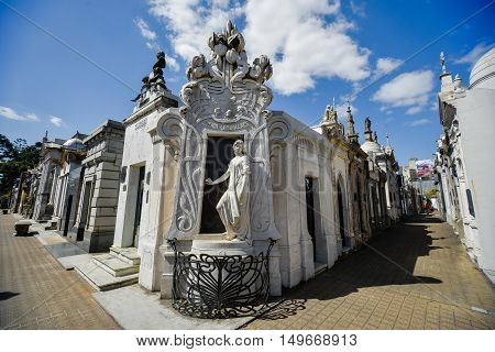 Buenos Aires Argentina - Sept 23 2016: View of the tomb of Rufina Cambaceres (center) at the La Recoleta Cemetery in Capital Federal.