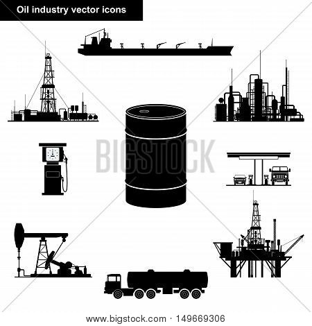 Oil and gas industry vector icons isolated on white background. Extraction, transportation and refining equipment collection